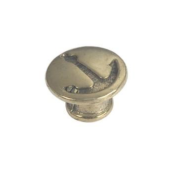 Bouton de tiroir en laiton, avec motif ancre