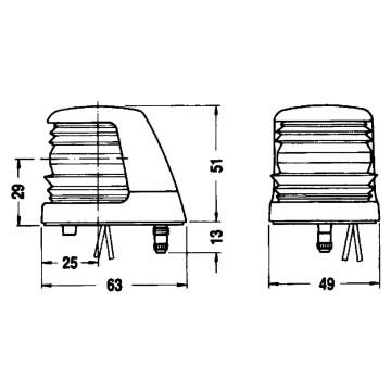 Feu de proue bicolore babord tribord 12V - boitier blanc Aquasignal 20