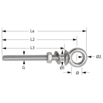 Piton à oeil inox vis M12x120mm