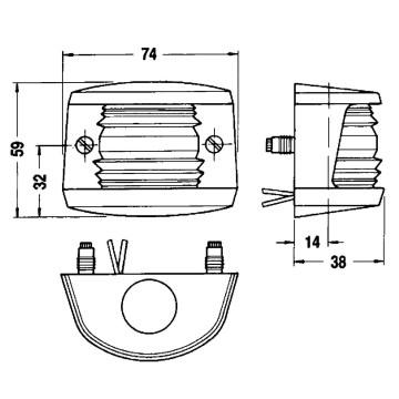 Feu de poupe blanc 12V Aquasignal 20 - boitier noir