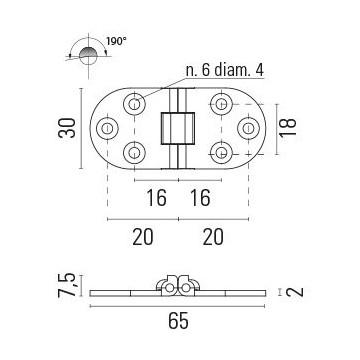 Charnière laiton 65x30mm