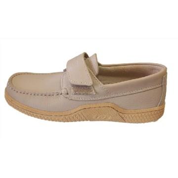 Chaussures bateau TBS en cuir beige + scratch