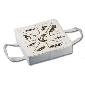 Coussin flottant 85N, blanc avec motifs de noeuds marins, 37x37x5cm