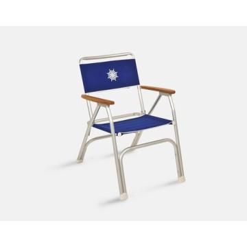 Chaise pliable alu/teck bleue