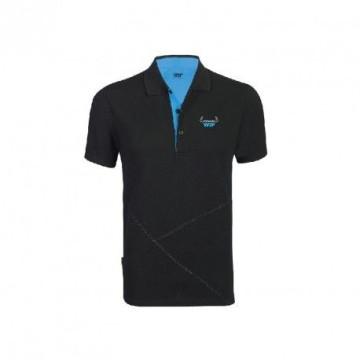 Polo WIP manches courtes noir/bleu