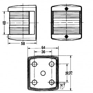 Feu tribord vert Aquasignal 10 W série 25, blanc 112,5°
