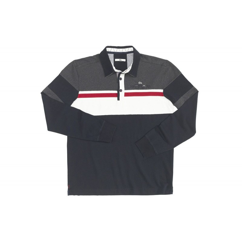 Polo rugby TBS, coton, manches longues, Navy